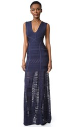 Herve Leger Miriam Sleeveless Gown Pacific Blue