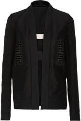 Rick Owens Leather Paneled Cotton Canvas Jacket Black