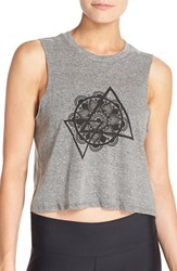 Women's Onzie Graphic Cotton Crop Tank Charcoal Mandala