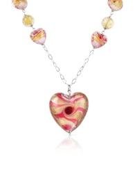 House Of Murano Vortice Pink Murano Glass Swirling Heart Sterling Silver Necklace