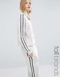 Y.A.S Tall Minna Contrast Stripe Drawstring Cropped Hoodie Cream