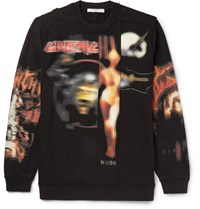 Givenchy Cuban Fit Distressed Printed Fleece Back Cotton Jersey Sweatshirt Black