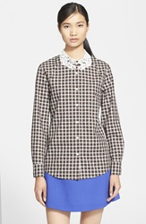 Vivetta 'Verga' Lace Hand Collar Plaid Shirt Cream Brown