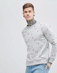 Hymn Embroidered Footballers Sweatshirt Grey