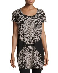 Neiman Marcus Short Sleeve Printed Tunic Blk Tan