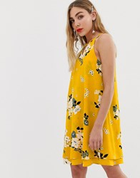 Only Keyhole Floral Shift Mini Dress Yellow