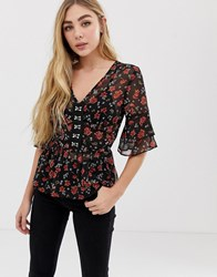 Influence Hook And Eye Blouse In Floral Print Black And Red Floral