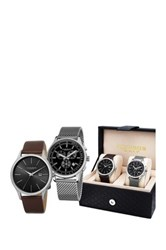 Akribos Xxiv Unisex Black Watch Gift Set Beige