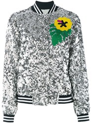 Mira Mikati Sequinned Bomber Jacket Women Silk Polyester 42 Grey