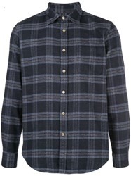 Portuguese Flannel Plaid Print Shirt Blue