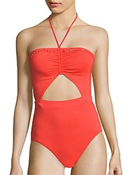 Michael Kors Beaded Halterneck One Piece Swimsuit Coral
