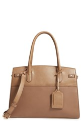 Sole Society Ladylike Faux Leather Satchel Beige Taupe