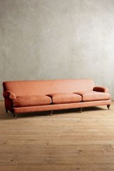 Anthropologie Belgian Linen Willoughby Grand Sofa Hickory Apricot