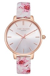 Ted Baker London Kate Leather Strap Watch 38Mm Printed Silver Rose Gold