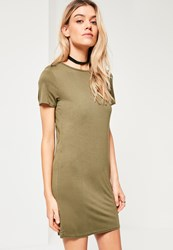 Missguided Khaki Short Sleeve T Shirt Dress