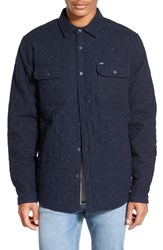 Men's Obey 'Lister' Quilted Shirt Jacket Heather Navy