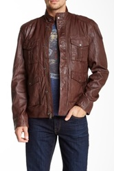 Lucky Brand Roadster Genuine Leather Jacket Brown