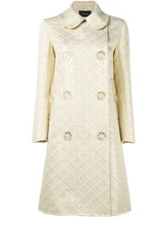 Simone Rocha Floral Button Jacquard Coat Metallic