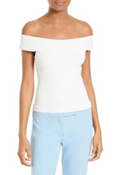 Milly Women's Off The Shoulder Knit Shell White