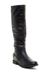 West Blvd Shoes Santiago Faux Leather Riding Boot Black