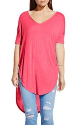 Women's Two By Vince Camuto V Neck Slub Knit Dolman Sleeve Tunic