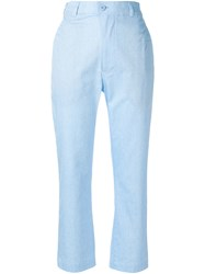 Julien David Cropped Tailored Trousers Cotton Blue