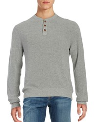 Brooks Brothers Ribbed Knit Henley Pullover Grey