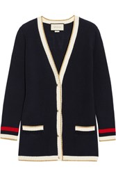 Gucci Appliqued Striped Cotton Blend Cardigan Navy