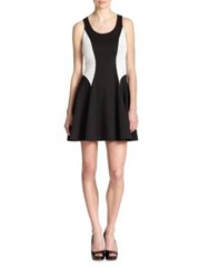 Ali Ro Flared Scuba Dress Black White