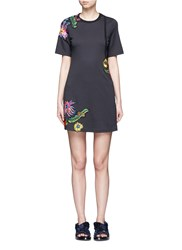 3.1 Phillip Lim Floral Embroidered Patch Cutout Jersey Dress Black