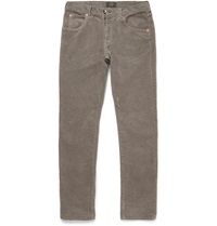 Beams Plus Slim Fit Washed Corduroy Trousers Gray