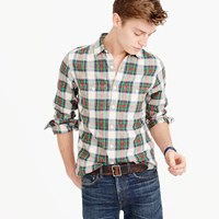 J.Crew Midweight Flannel Shirt In White And Green Plaid