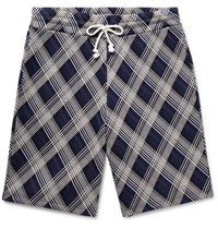 Maison Martin Margiela Checked Cotton Blend Jacquard Drawstring Shorts Storm Blue