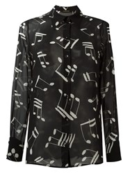 Saint Laurent Music Note Printed Shirt Black