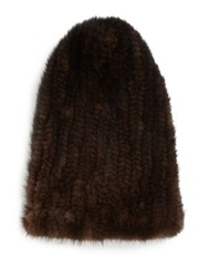 Surell Mink Fur Beanie Brown
