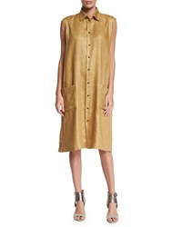 Eskandar Sleeveless Button Front Linen Shirtdress Gold