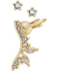 Bar Iii Gold Tone Crystal Ear Cuff And Stud Earrings Set Only At Macy's