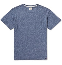 Faherty Melange Knitted Cotton Jersey T Shirt Blue
