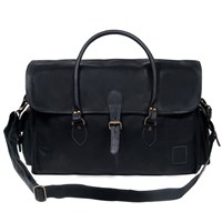 Mahi Leather Galley Bag Weekend Overnight Holdall In Ebony Black