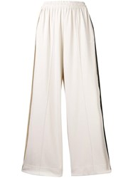 Y 3 Striped Wide Leg Casual Trousers Nude And Neutrals