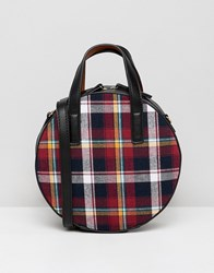 Warehouse Mini Circle Across Body Bag In Red Tartan