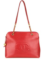 Chanel Vintage Embossed Logo Shoulder Bag Red