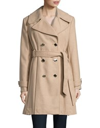 Jessica Simpson Wool Blend Pleated Belted Peacoat