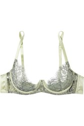 Coco De Mer Flora Lace And Stretch Satin Underwired Balconette Bra Mint