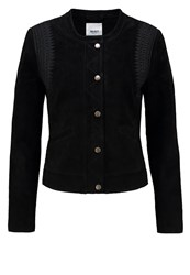 Object Objbarnes Leather Jacket Black