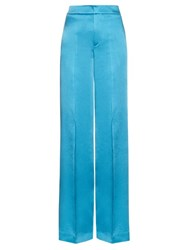Etro Wide Leg Crepe De Chine Trousers Blue
