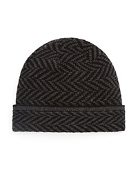 The Men's Store At Bloomingdale's Wool Cashmere Chevron Beanie Grey Black