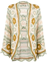 Mes Demoiselles Crochet Kimono Jacket Women Cotton One Size Nude Neutrals