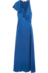 Diane Von Furstenberg Ruffled Satin Wrap Maxi Dress Royal Blue