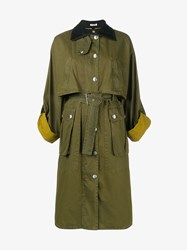 Miu Miu Wool Trimmed Waxed Cotton Coat Khaki Black Yellow Denim